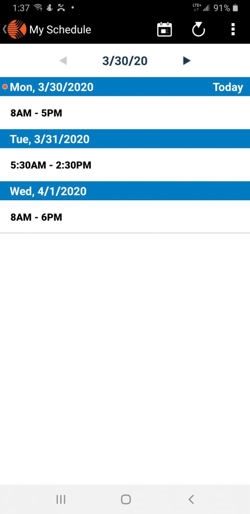 Lowes Kronos schedule on mobile app
