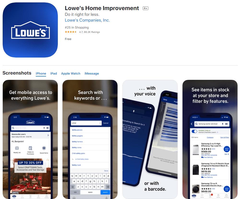 Lowe's iOS app